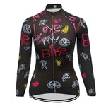 Women's Long Sleeve Love My Bike Cycling Jersey (with Fleece Option)