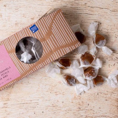 image of Little Apple Treats Apple Cider Caramels with Rose Petals and Cocoa Nibs