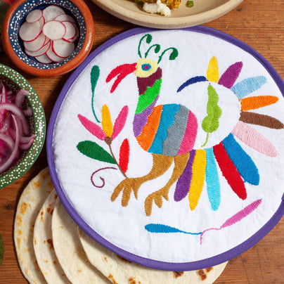 image of Lolo Mercadito Hand-Embroidered Tortilla Warmers