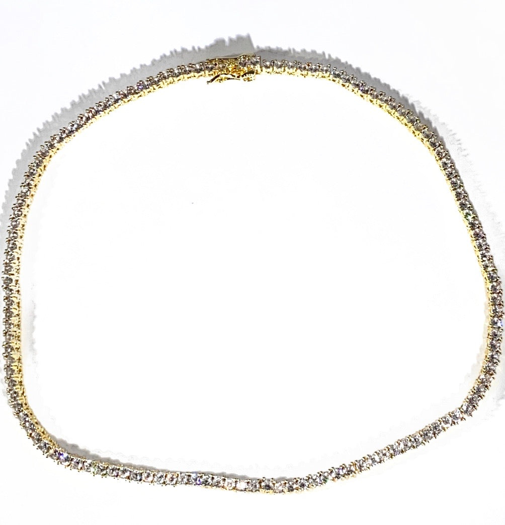 Gold Icy Tennis Necklace