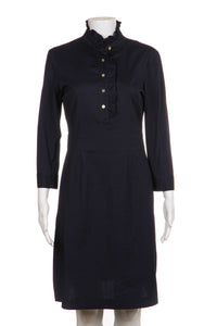 TORY BURCH Dress Cotton Navy Blue Ruffle Gold Button Mock Collar Size 4