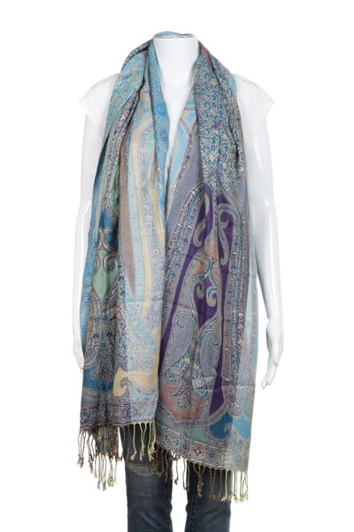 PASHMINA Shawl Blue Purple Turquoise Scarf Fringe Rectangular
