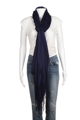 PASHMINA Scarf Blue Soft Fringe Shawl Rectangular Wrap Cover Up Wedding