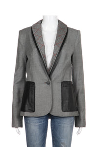 L.A.M.B. Blazer Wool Leather Plaid Herringbone Print