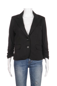 GIBSON Blazer Jersey Fitted Cropped Ruched Sleeves Size S