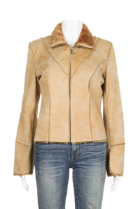 GUESS Jacket Suede Leather Faux Fur Lined Tan Size S