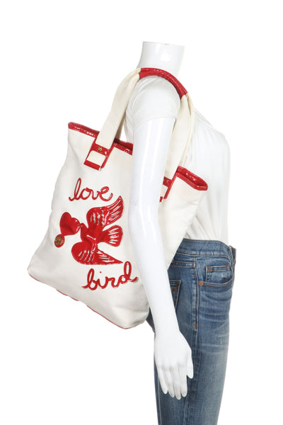 TORY BURCH Canvas Patent Leather Lovebird Tote