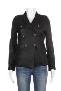 IRO Lamb Leather Black Jacket Margaux Peacoat Size 4