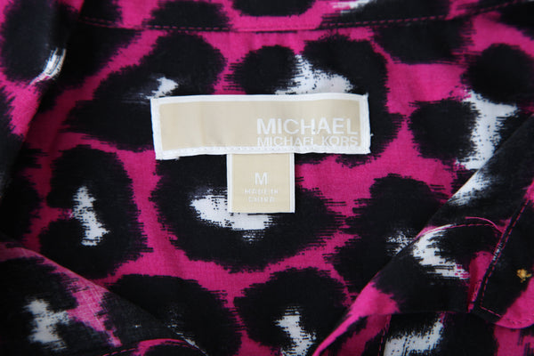 MICHAEL KORS Button Down Purple Cheetah Print Blouse Size M