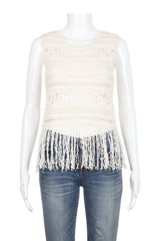 BCBG MAXAZRIA BECCAH Crop Top Ivory Crochet with Fringe Size S