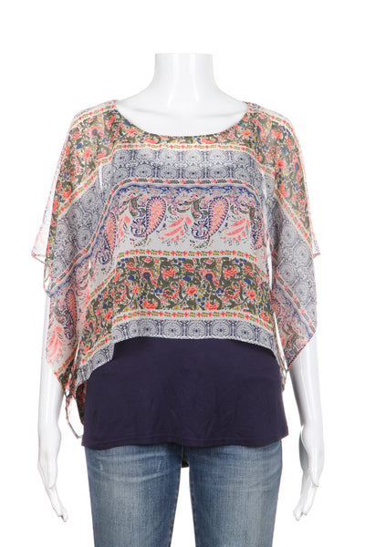 SKIES ARE BLUE Top Blue Pink Paisley Size S