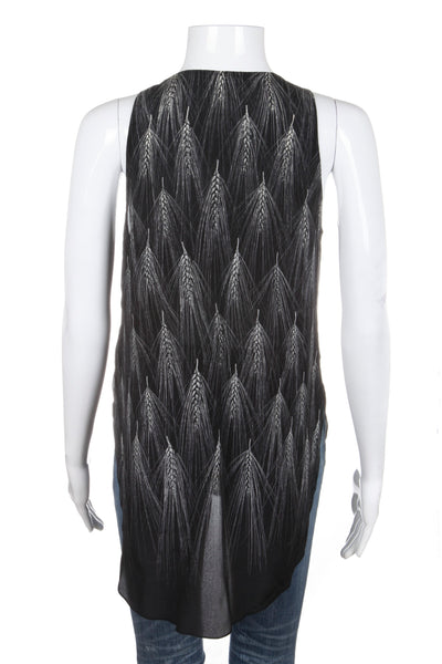 3.1 PHILLIP LIM Black Silk Top With Feather Print and Bead Embellishment Size 2