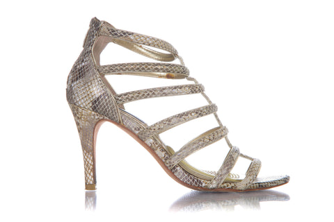 White House BLACK MARKET Gold Shimmer Snakeskin Caged Heels Size 7.5