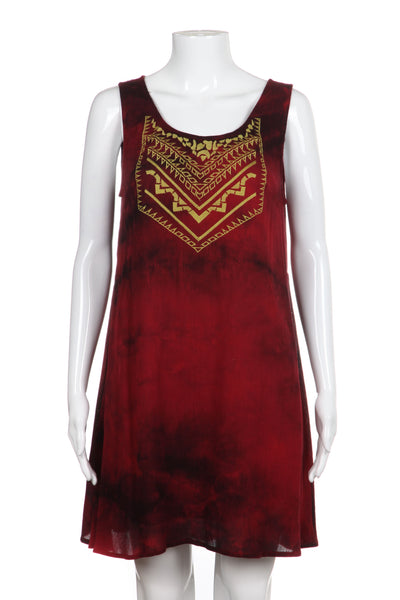 ENTRO Dress Dark Red Flowy Shift Embroidered Boho Size M