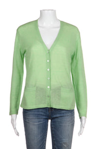 RESIDENZ BOUTIQUE Cardigan Cashmere Mint Green Thin Knit Button Sweater Medium