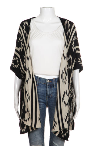 THE HANGER Cardigan Poncho S/M Black Beige Tribal Aztec Design Open Sweater