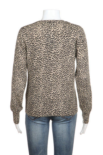 QUOTATION Cardigan 100% Cashmere Tan Black Animal Cheetah Sweater Small