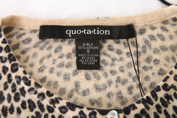 QUOTATION 100% Cashmere Animal Print Cardigan Size S