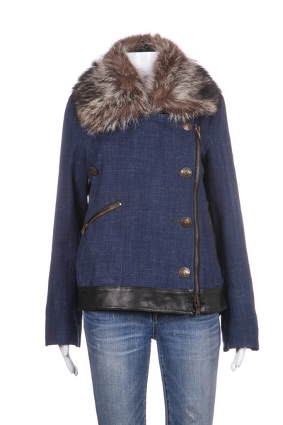 VERONICA BEARD Jacket Leather Wool Blend Fur Collar Size 8