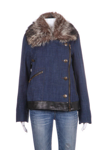 VERONICA BEARD Denim Fur Collar Coat Size 8