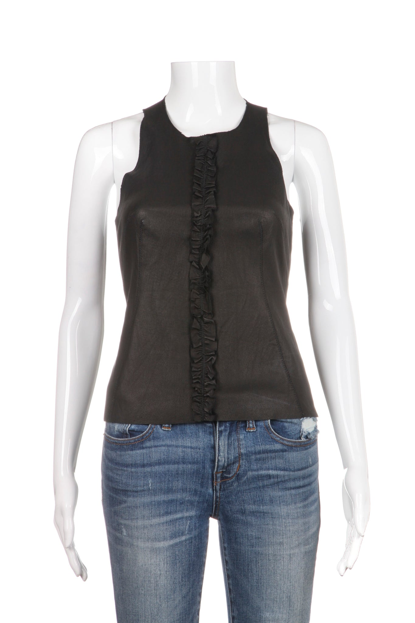 ILLIA Tank Top Black 100% Genuine Leather Size 0