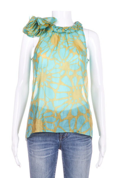 J.CREW COLLECTION Havona Tank Top 100% Silk Blue Green Floral Braided (New)