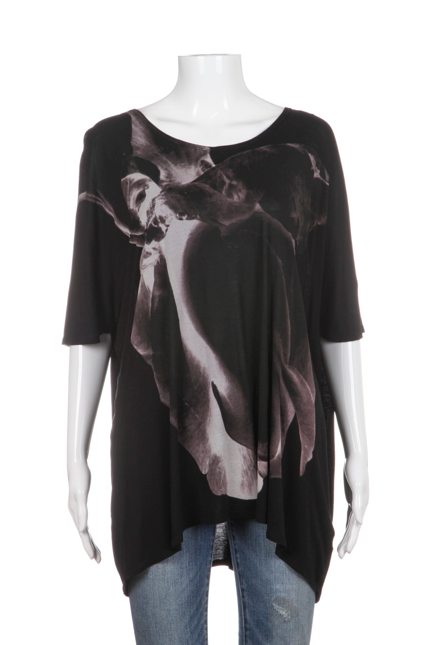 ALLSAINTS Oversized Top Black Grey Graphic Tee Size XS