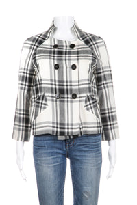 ZARA Cropped Peacoat Black White Plaid Size M
