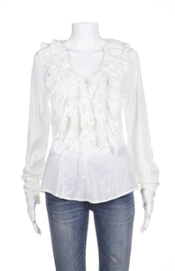 FLAVIO CASTELLANI Blouse White Ruffled Long Sleeve V-Neck Size M