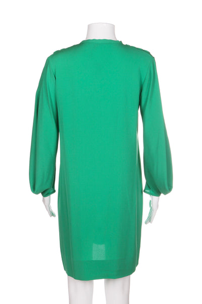 DIANE VON FURSTENBERG Dress 100% Silk Green Sheath Size 2