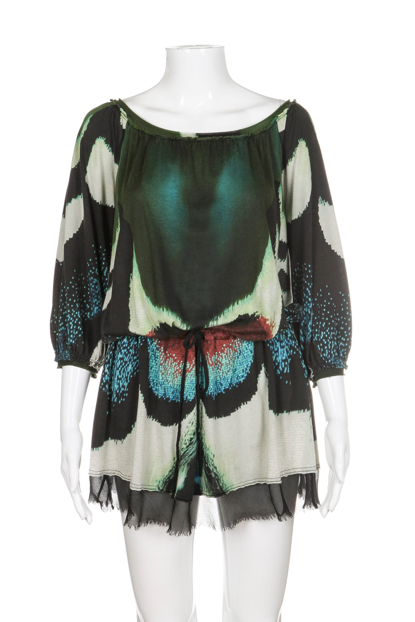 VIVIENNE TAM Dress Silk Blend Green Print Size P