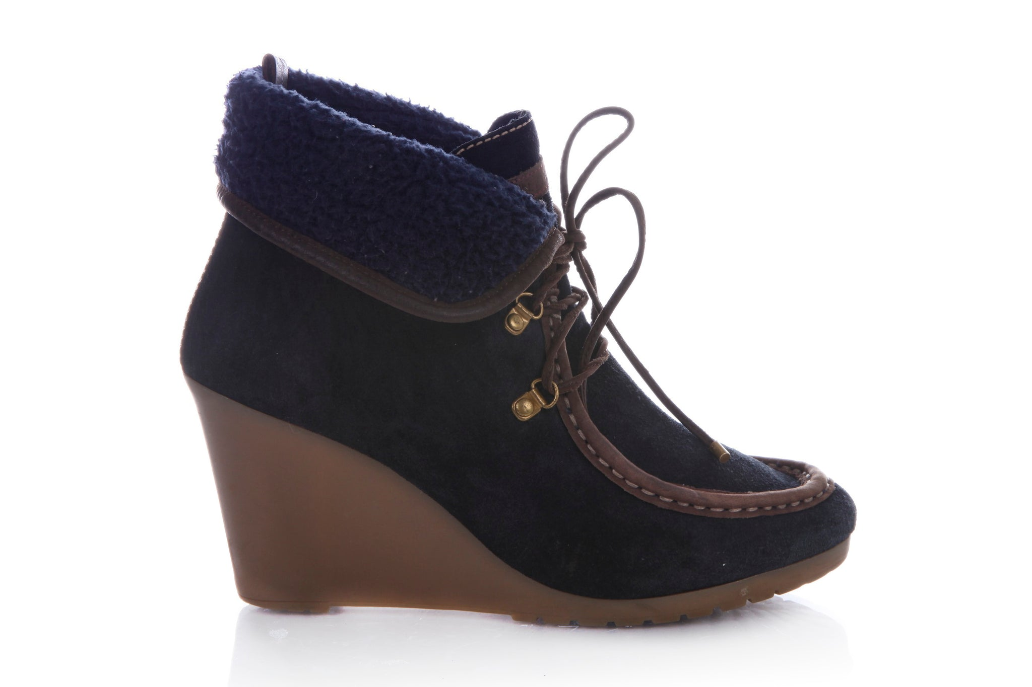 TOMMY HILFIGER Zaria Wedge Booties Suede Leather Navy Blue Size 7