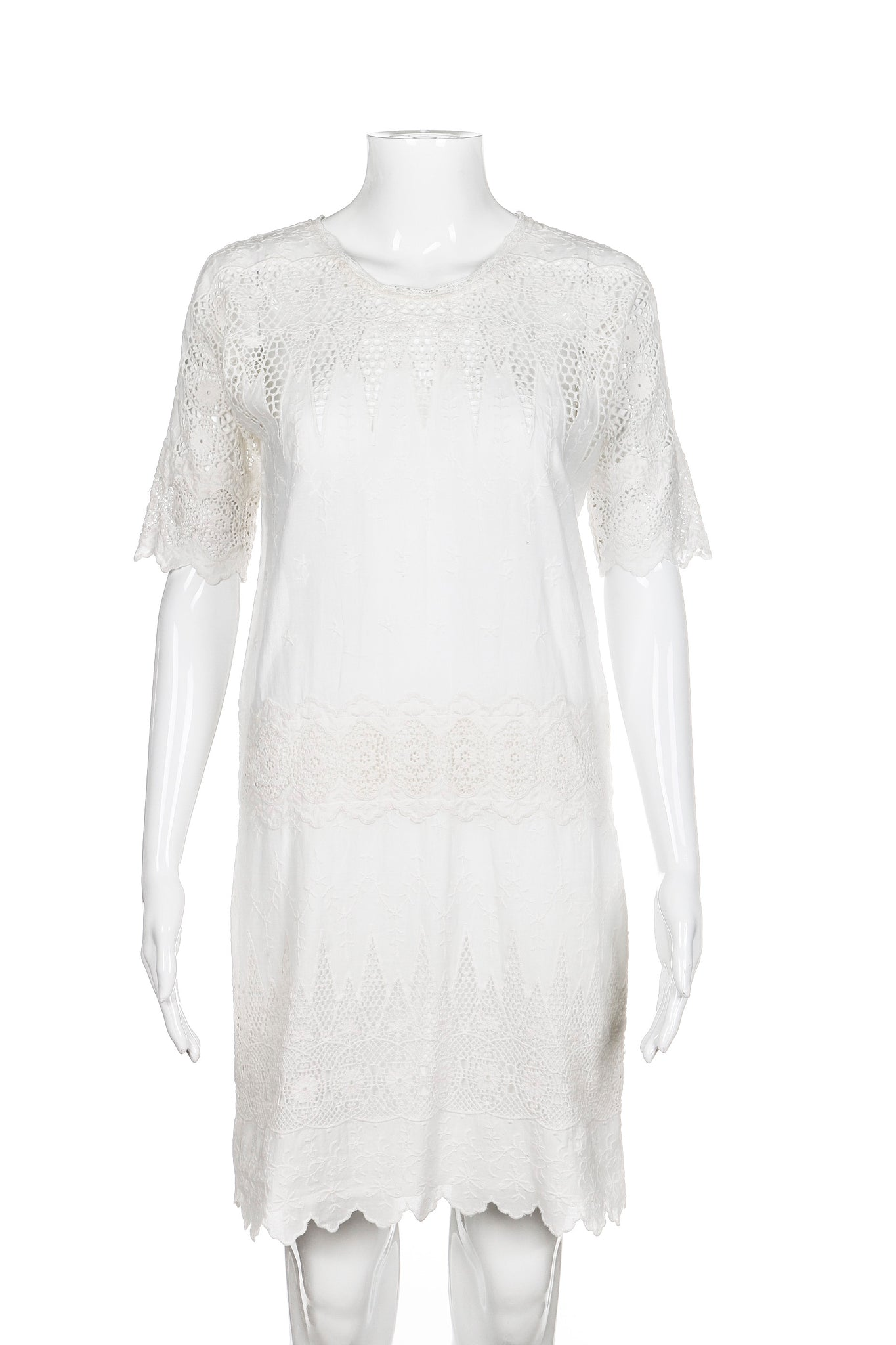 ULLA JOHNSON Viola Dress Size 0 White Crochet Lace Embroidery XS Sheath Style-Hunting