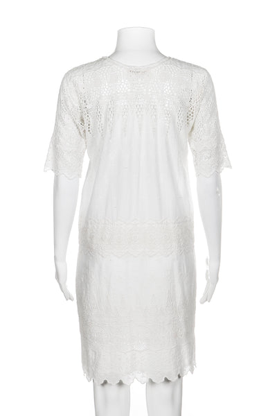 ULLA JOHNSON Viola Dress White Crochet Lace