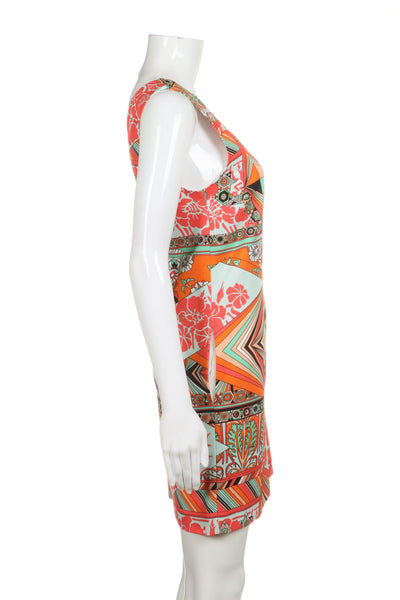 MSGM Shift Dress Orange Green Floral Size S (New)