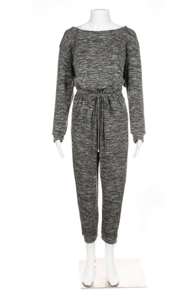 JUSTFAB KNIT Jumpsuit Medium Heather Grey Full Length Tie Waist Knit Style-hunting