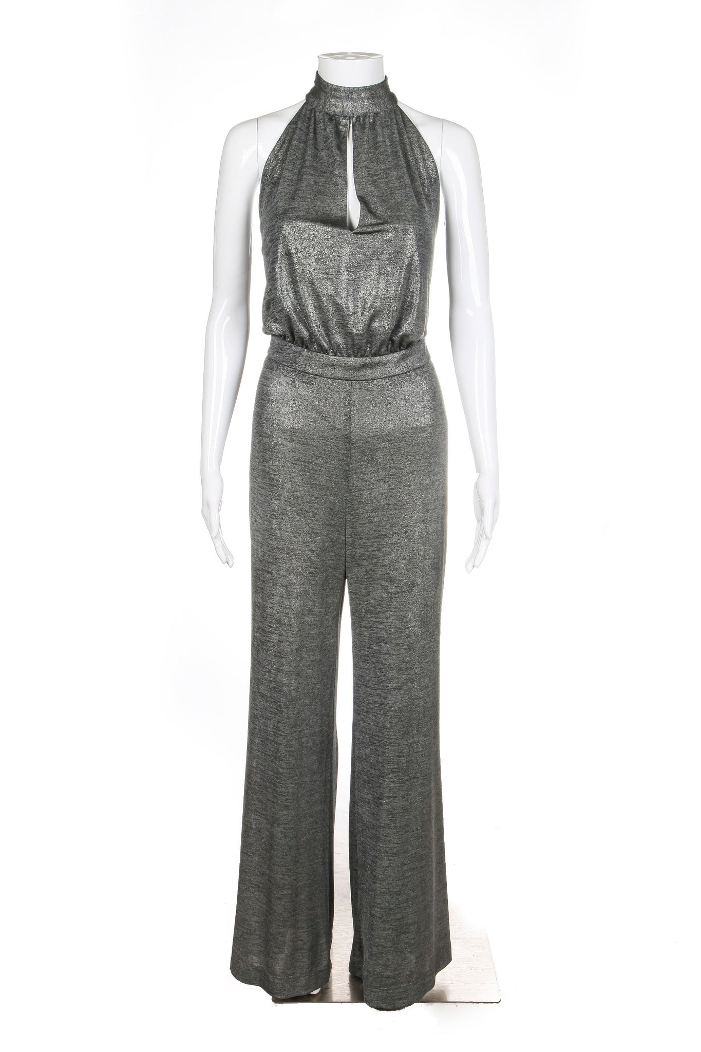 New ABS ALLEN SCHWARTZ Jumpsuit Medium Metallic Silver Halter Style-hunting