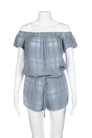 BELLA DAHL ANTHROPOLOGIE Romper Small Blue White Striped Short Jumpsuit Style-hunting