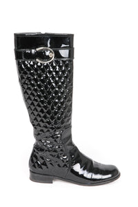 STUART WEITZMAN Patent Leather Quilted Knee High Boots Size 7.5