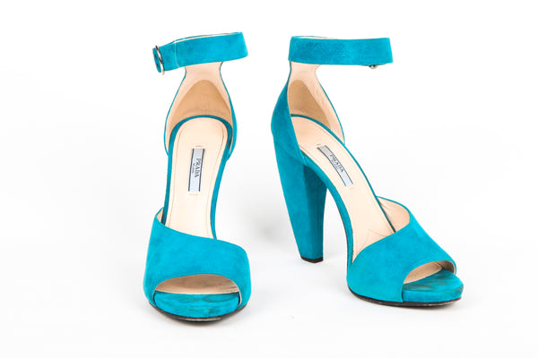 PRADA Teal Blue Suede Open Toe Chunky Heel Size 40