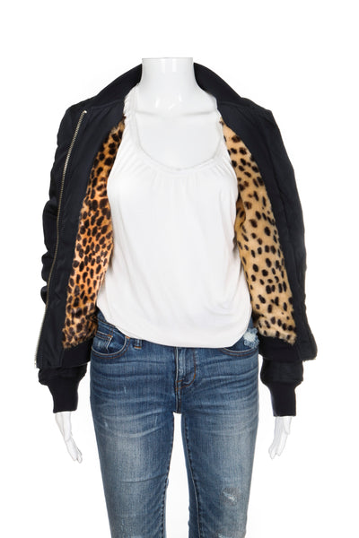 TOPSHOP Bomber Jacket Blue Cheetah Animal Print Faux Fur Lining US 4 EUR 36