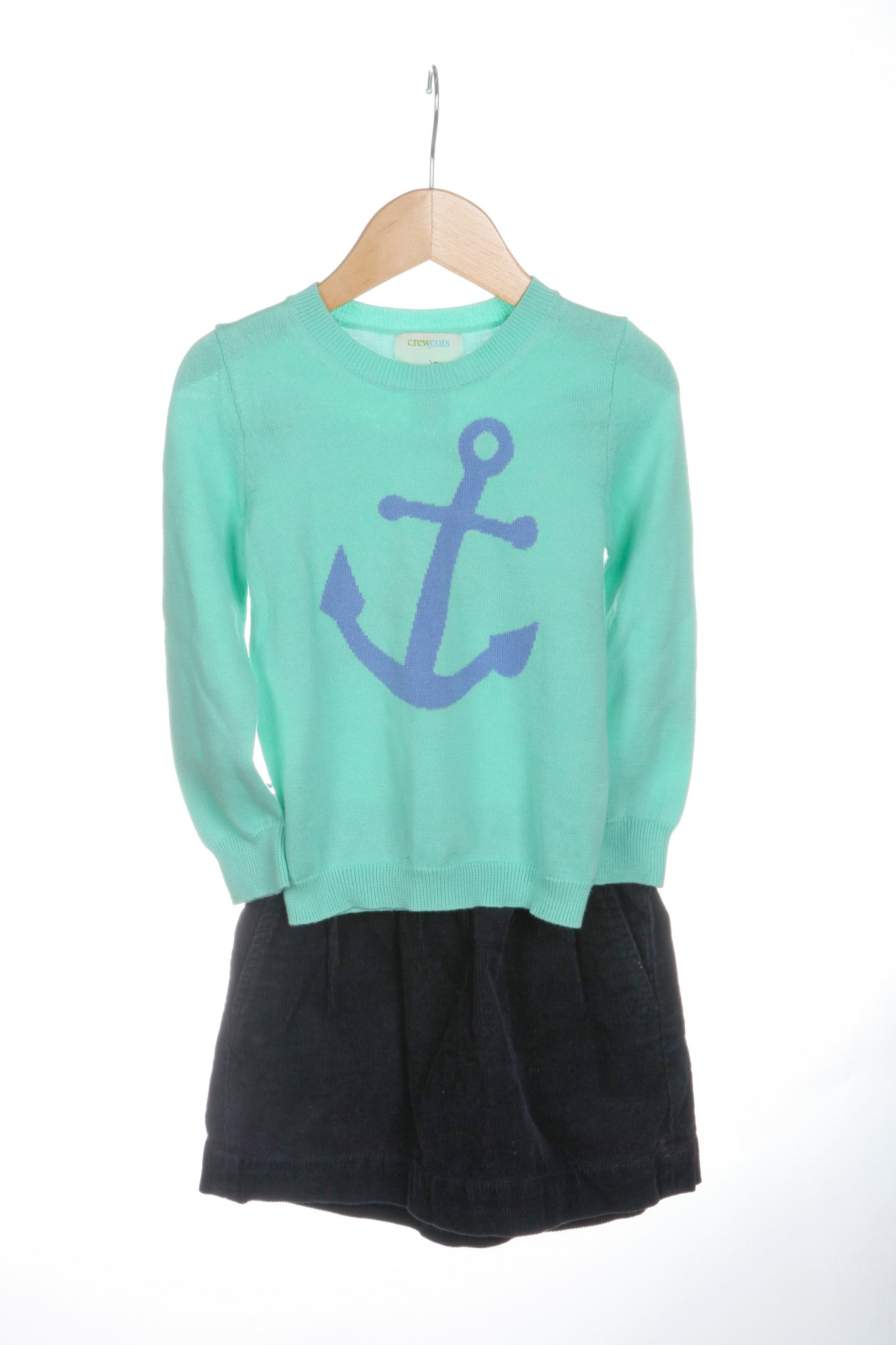 CREWCUTS Girl's Outfit Mint Green Sweater Blue Corduroy Skirt Size 3T