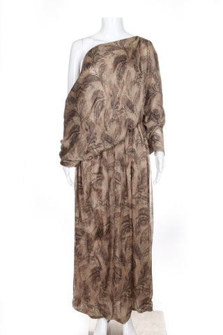 BALLY Runway Off Shoulder Brown Beige Maxi Dress Size M