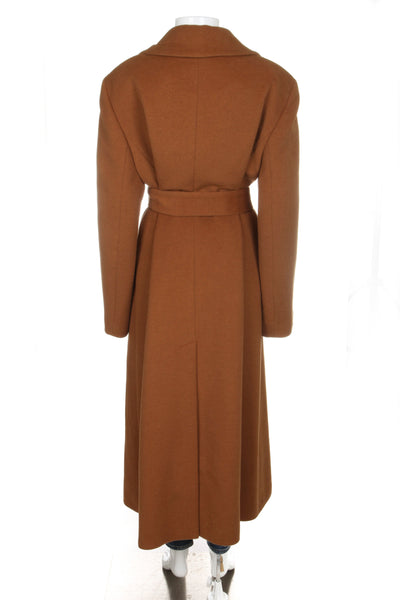 LAURÈL Trench Coat Wool Brown Long Tie Waist Size 44
