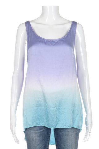 SOLEMIO High Low Tank Top Silk Blend Purple Blue Ombre Size M