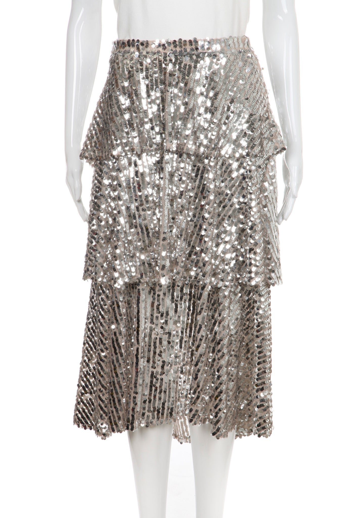 ZARA Skirt Silver Sequin Embellished Tiered