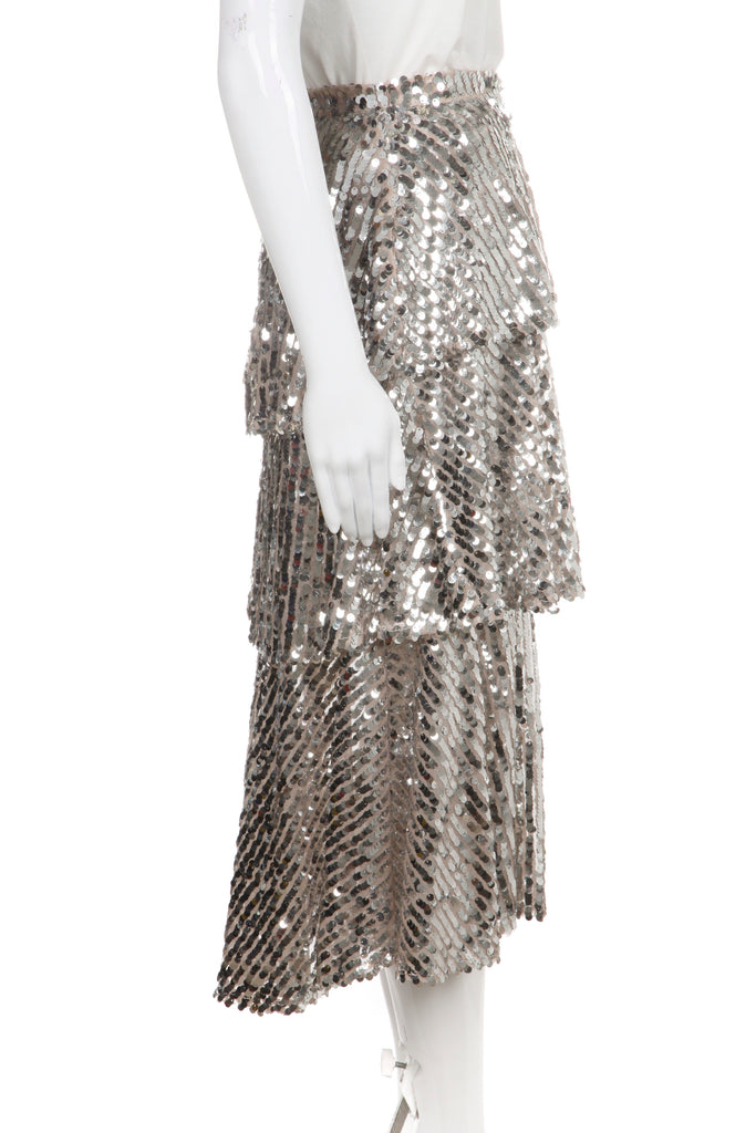 b3de5411be ZARA Skirt Silver Sequin Embellished Tiered – Style-Hunting