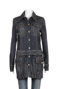 7 FOR ALL MANKIND Jacket Dark Blue With Belt Size L