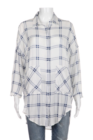 ENTRO Button Up Top Blue White Plaid Loose Fit Size S