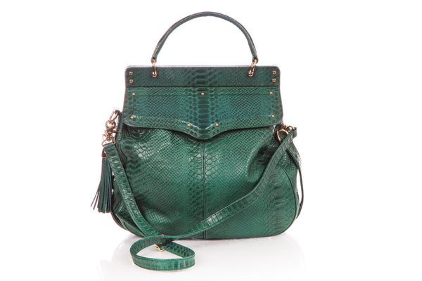 REBECCA MINKOFF Green Handbag Hobo Shoulder Bag Gold Tassel Snake Skin Leather